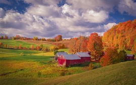 Preview wallpaper Fields, trees, house, autumn