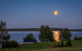 Preview wallpaper Finland, lake, hut, trees, moon