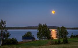 Finlandia, lago, choza, arboles, luna
