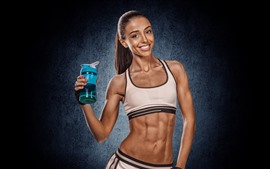 Preview wallpaper Fitness girl, muscle, bottle