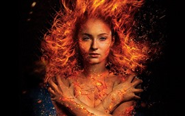 Пламенная девушка, огонь, трещина, фэнтези