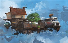 Flight house, cars, pig, creative picture