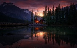 Forest, lake, house, sunset, dusk
