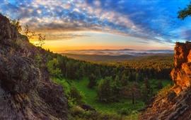Floresta, pôr do sol, rochas, nuvens, luz solar