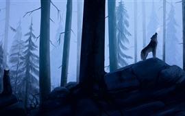 Preview wallpaper Forest, wolf, art picture