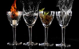 Preview wallpaper Four glass cups, flame, smoke, water, plant