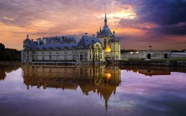 France, Chantilly castle, water, clouds, dusk