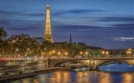 Francia, París, noche de la ciudad, Torre Eiffel, río, puente, luces