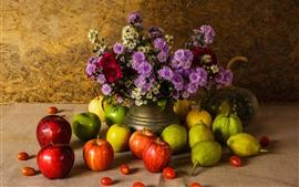 Frutas, manzanas verdes y rojas, peras, calabazas, flores, bodegones.