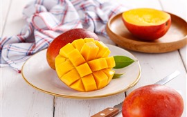Preview wallpaper Fruit, mango, knife