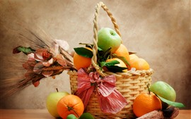 Frutas, laranjas, maçãs, cesta