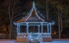 Gazebo, holiday lights, night