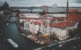 Germany, Berlin, city, bridge, river, cars, buildings
