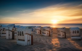 Preview wallpaper Germany, Lower Saxony, sun loungers, beach, sea, sunset