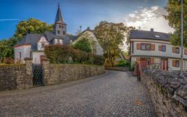 Alemania, Miehlen, cercas, calle, casas