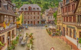 Preview wallpaper Germany, Oberwesel, beautiful town, cafe, people