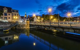 Alemanha, stralsund, rio, ponte, luzes, noturna