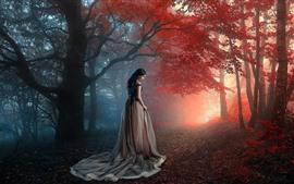 Chica en el bosque, hojas rojas, otoño, niebla.