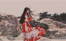 Preview wallpaper Girl in the wind, long hair, skirt, summer