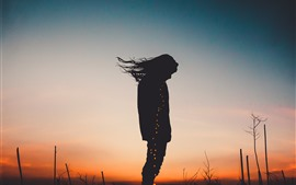 Preview wallpaper Girl, silhouette, hair, wind, night