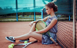 Preview wallpaper Girl sit on ground, racket, tennis, sport