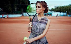 Menina, tênis, raquete