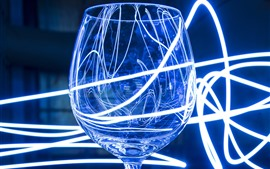 Glass cup, neon light