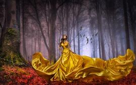 Golden skirt girl, forest, trees, autumn