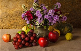 Preview wallpaper Grapes, apples, pears, pumpkin, gerbera, still life