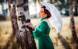 Preview wallpaper Green skirt girl, retro style, umbrella, tree