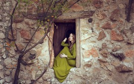 Preview wallpaper Green skirt girl, window, wall