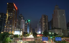 Guangzhou, city at night, buildings, road, traffic, lights