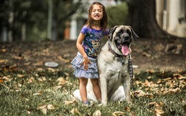 Preview wallpaper Happy little girl and bulldog