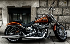 Motocicleta Harley-Davidson, vista lateral.