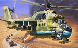 Preview wallpaper Helicopter, cars, army, art picture