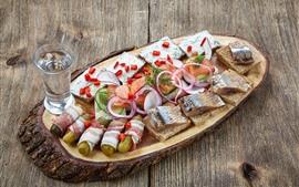 Fatias de arenque, pepino, refeição, comida