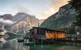 House, lake, pier, mountains
