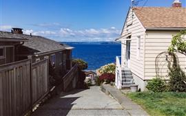 Preview wallpaper Houses, path, sea