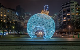 Preview wallpaper Huge Christmas ball, holiday lights, night, Paris, France