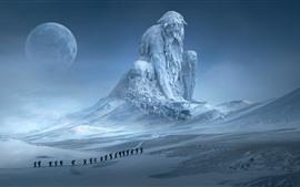 Preview wallpaper Huge statue, snow, winter, moon, art picture