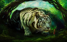 Huge white tiger, girl, art picture