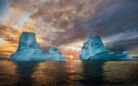 Айсберг, море, закат, природный ландшафт