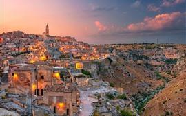 Itália, matera, basilicata, cidade, anoitecer, luzes