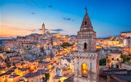 Italy, Matera, Basilicata, city, lights, dusk