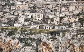 Itália, Matera, Basilicata, gruta residência, ruínas