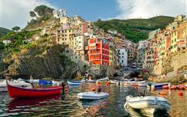 Vorschau des Hintergrundbilder Italien, Riomaggiore, Häuser, Boote, Meer, Küste