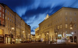 Preview wallpaper Italy, Trieste, city night, street, buildings, lights
