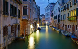 Italy, Venice, city, night, river, houses, lights