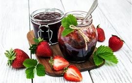 Aperçu fond d'écran Confiture, fraise, pot