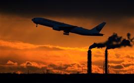 Aperçu fond d'écran Japan Airline, avion de passagers Boeing 777-200, silhouette
